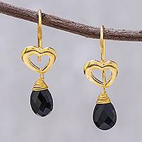 Gold plated spinel dangle earrings, 'Time to Love' - Gold Plated Spinel Heart Dangle Earrings from Thailand