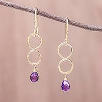 Gold plated amethyst dangle earrings, 'Purple Infinity' - Gold Plated Amethyst Infinity Dangle Earrings from Thailand