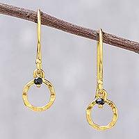 Gold plated onyx dangle earrings, 'Rustic Modern' - 24k Gold Plated Black Onyx Dangle Earrings from Thailand