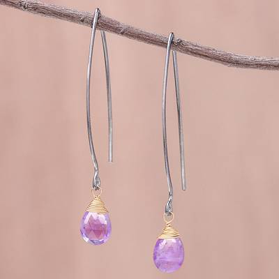 Gold accented amethyst dangle earrings, 'Midnight Meadow' - Gold Accent Amethyst Dangle Earrings from Thailand
