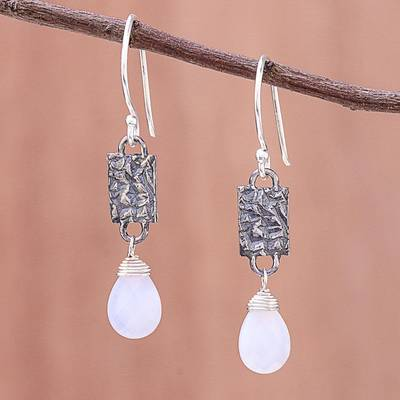 Chalcedony dangle earrings, 'Facets and Folds' - Chalcedony and Textured Sterling Silver Dangle Earrings