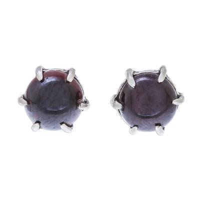 Handcrafted Garnet and Sterling Silver Stud Earrings