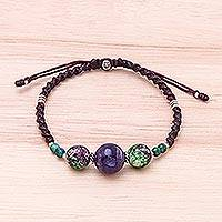 Multi-gemstone beaded pendant bracelet,