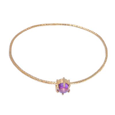 Amethyst and 18K Gold Plated Hammered Brass Bangle Bracelet