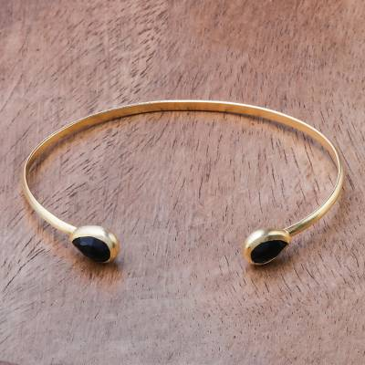 Gold plated onyx cuff bracelet, 'Midnight Glimpse' - Onyx Teardops and 18K Gold Plated Brass Cuff Bracelet
