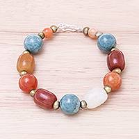 Multi-gemstone beaded bracelet, 'Love and Mercy' - Multi-Gemstone Beaded Bracelet from Thailand