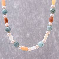 Multi-gemstone beaded long necklace, 'Thai Beauty' - Multi-Gemstone Beaded Long Necklace from Thailand