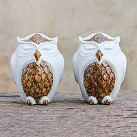Ceramic salt and pepper shakers, 'Calm Owls in White' (pair) - Ceramic Owl Salt and Pepper Shakers in White (Pair)