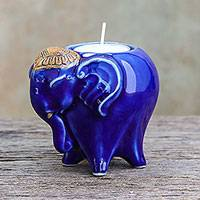 Ceramic tealight holder, 'Serene Elephant' - Handcrafted Ceramic Elephant Tealight Holder in Blue