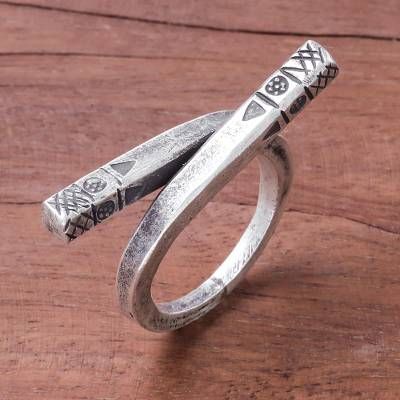 Silver wrap ring, 'Chic Karen' - Karen Silver Wrap Ring Handcrafted in Thailand