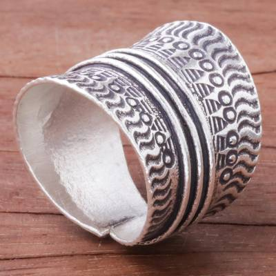 Sterling silver wrap ring, 'Great Waves' - Combination Finish Sterling Silver Wrap Ring from Thailand