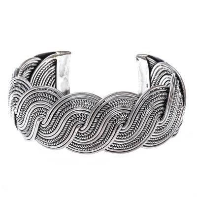 Serpentine Intertwined Sterling Silver Bands Cuff Bracelet