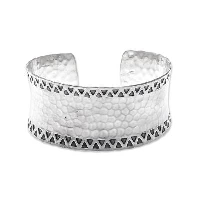 Concave Band Sterling Silver Cuff with Hammered Finish