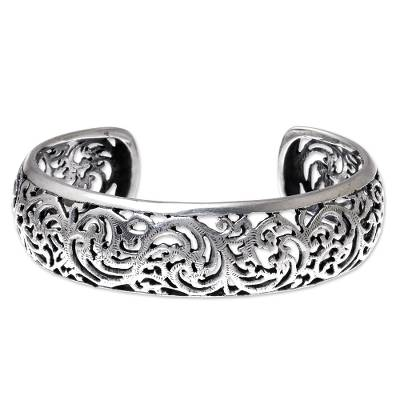 Vine Pattern Sterling Silver Cuff Bracelet from