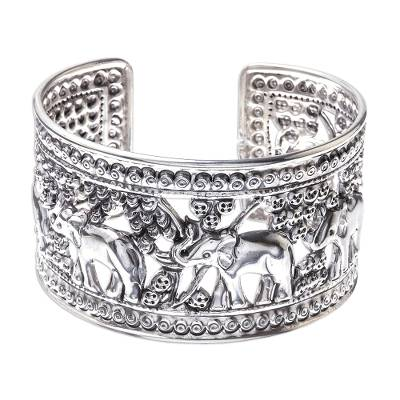 Elephants in Forest Openwork Sterling Silver Cuff Bracelet