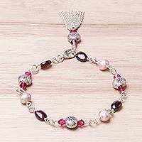 Garnet and cultured pearl charm bracelet,