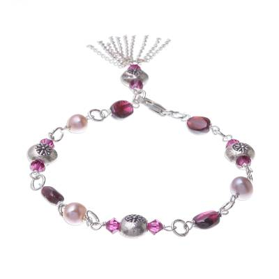 Garnet and Cultured Pearl Sterling Silver Charm Bracelet