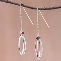 Sterling silver with glass bead accent threader earrings, 'Nested Windows' - Double Ellipse on Chain Sterling Silver Threader Earrings
