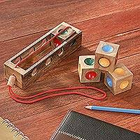 Wood puzzle, 'Traffic Light' - Colorful Wood Brain Teaser Puzzle from Thailand