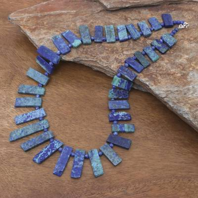 Azurite and lapis lazuli beaded necklace, 'Tribal Style' - Azurite and Lapis Lazuli Beaded Necklace from Thailand