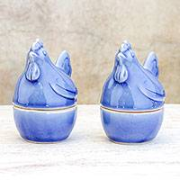 Ceramic egg cups, 'Hen Breakfast' (pair) - Blue Ceramic Hen Egg Cups from Thailand (Pair)