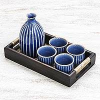Ceramic decanter and cup set, 'Ridges' (set of 6) - Blue Ceramic Decanter and Cups with Wood Tray (Set of 6)