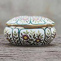 Gilded porcelain decorative box, 'Benjarong Violets' - Violet Motif Gilded Porcelain Decorative Box from Thailand
