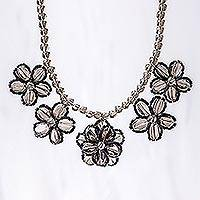 Smoky quartz beaded pendant necklace, 'Elegant Daisy Chain' - Floral Smoky Quartz Beaded Pendant Necklace from Thailand