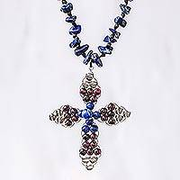 Lapis lazuli and garnet beaded pendant necklace, 'Bohemian Cross' - Lapis Lazuli and Garnet Bohemian Cross Necklace