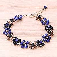 Lapis lazuli beaded bracelet, 'Rainbow Blossom' - Lapis Lazuli and Glass Beaded Bracelet from Thailand