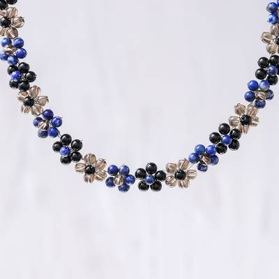 Lapis lauli beaded necklace, 'Rainbow Blossom' - Lapis Lazuli and Glass Beaded Necklace from Thailand