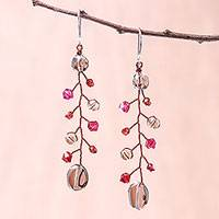 Smoky quartz and garnet beaded dangle earrings, 'Thai Majesty' - Smoky Quartz and Garnet Beaded Dangle Earrings from Thailand