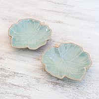 Celadon ceramic serving bowls, 'Ivy Leaves' (pair) (Thailand)