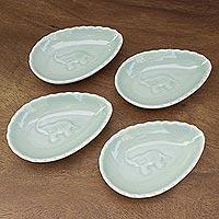 Celadon ceramic condiment bowls, 'Elephant Eggs' (set of 4) (Thailand)