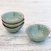 Celadon ceramic appetizer bowls, 'Sunflower Dream' (set of 4) (Thailand)