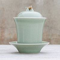 Celadon ceramic soup cup with lid and saucer, 'Cup of Comfort in Green' (Thailand)