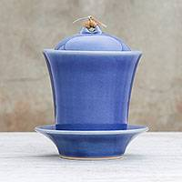 Ceramic soup cup with lid and saucer, 'Cup of Comfort in Blue' - Handcrafted Blue Ceramic Soup Cup Set with Lid and Saucer