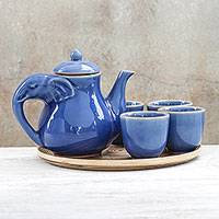 Celadon ceramic tea set, 'Elephant Gathering' (set for 4) - Elephant-Themed Blue Ceramic Tea Set for 4 (6 Pieces)