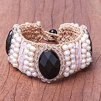 Quartz and cultured pearl wristband bracelet, 'Jazz Age' - Quartz and Cultured Pearl Wristband Bracelet from Thailand