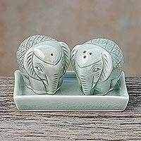 Celadon ceramic salt and pepper shaker set, 'Elephant Texture' (3 pieces) - Elephant-Themed Celadon Ceramic Salt and Pepper Shaker Set