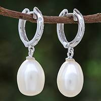 White gold plated cultured pearl dangle earrings, 'Refreshing Morning in White' - White Gold Plated Cultured Pearl Dangle Earrings in White