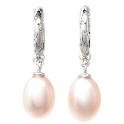 White Gold Plated Cultured Pearl Dangle Earrings in Peach