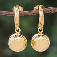 Gold plated sterling silver dangle earrings Shining Ball (Thailand)