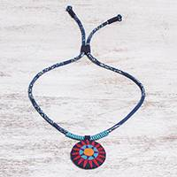 Cotton pendant necklace, 'Red Hmong Sun Medallion' - Handcrafted Cotton Pendant Necklace in Red from Thailand