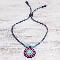 Cotton pendant necklace, 'Pink Hmong Sun Medallion' - Handcrafted Cotton Pendant Necklace in Pink from Thailand