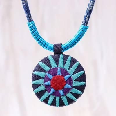 Cotton pendant necklace, 'Hmong Sun Medallion' - Handcrafted Thai Hmong Hill Tribe Cotton Pendant Necklace