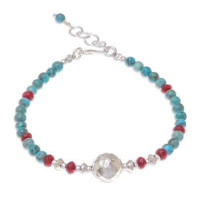 Magnesite and Quartz Beaded Pendant Bracelet from Thailand