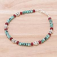 Apatite and quartz beaded bracelet, 'Fresh Karen' - Apatite and Quartz Beaded Bracelet from Thailand