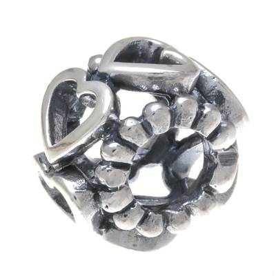 Heart Motif Sterling Silver Bracelet Bead from Thailand