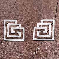 Sterling silver stud earrings, 'Maze to My Soul' - Geometric Openwork Sterling Silver Stud Earrings